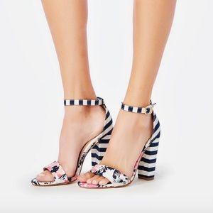 Floral and stripe heels